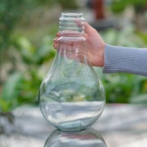 گلدان شیشه ای طرح لامپ ارتفاع 29 سانتی متر