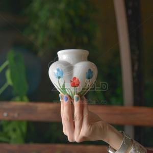 گلدان سفالی دیواری طرح قلب ارتفاع 10 سانت