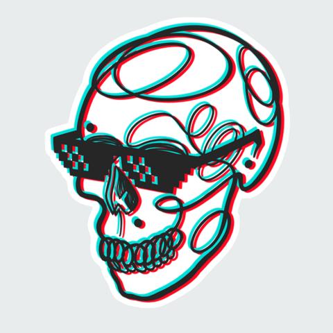 Stickers Skull 3D