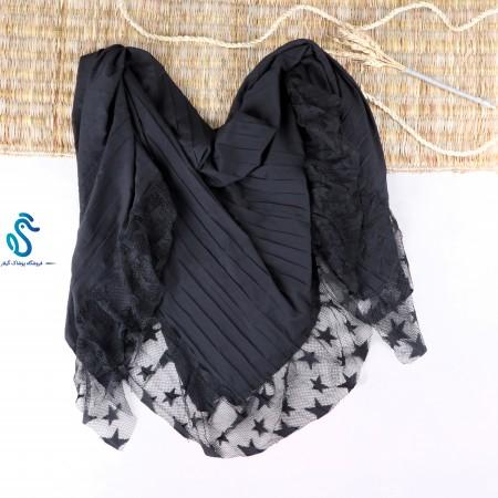روسری مشکی  دانتل  قواره 140