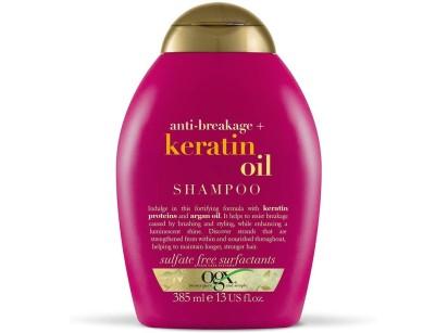 شامپو بدون سولفات ترمیم کننده روغن کراتین او جی ایکس Ogx Anti Breakage Keratin Oil حجم 385 میل