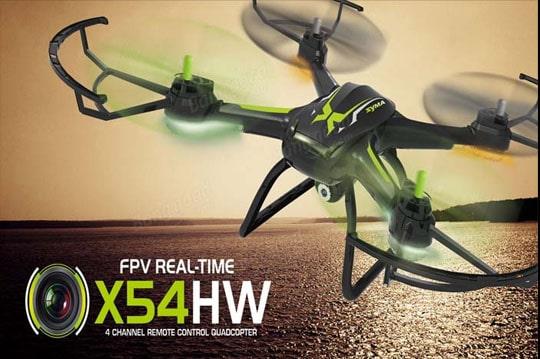 کوادکوپتر دوربین دار وای فای syma x54hw با قابلیت تنظیم ارتفاع - پرواز و فرود آسان - مسیر پرواز