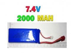 باطری لیتیوم پلیمر 2000 میلی آمپر (2000MAH)  7.4 ولت با سوکت t