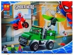 ماشین لگویی همراه با موتور مرد عنکبوتی لگویی 111 تیکه آیتم lari 11497