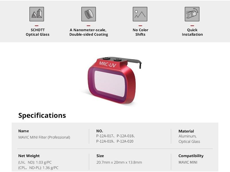 Mavic Mini Filter Lens Specification
