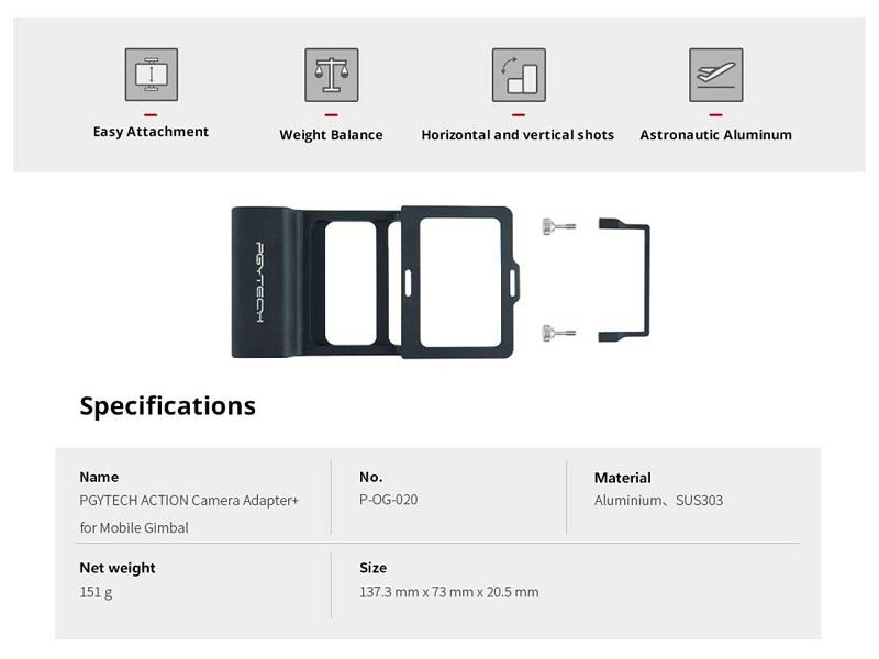 محتویات جعبه pgytech gopro adapter for osmo mobile 3