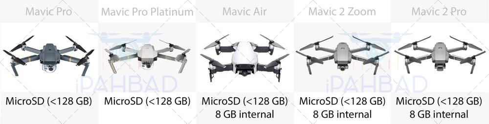 مقایسه حافظه کوادکوپترهای mavic pro, mavic air, mavic 2 zoom, mavic 2 pro, mavic pro platinum