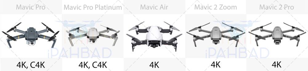 مقایسه کیفیت تصویر mavic pro, mavic air, mavic 2 zoom, mavic 2 pro, mavic pro platinum