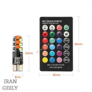 یک جفت لامپ ژله ای RGB 12SMD  T10  با ریموت طرح جدید 2021