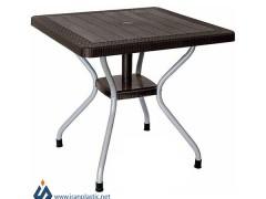 میز مربع حصیربافت پایه فلزی ناصر پلاستیک