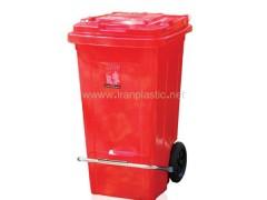 سطل زباله 100 لیتری چرخ دار و پدال دار ماهینی پلاستیک