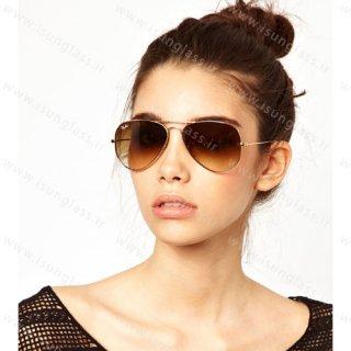 عینک آفتابی خلبانی ریبن مدل طلایی rayban
