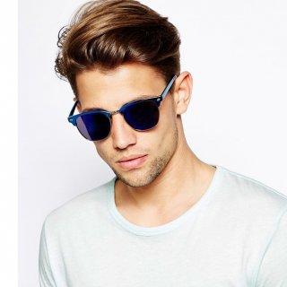 عینک آفتابی آینه ای آبی Mirror Clubmaster