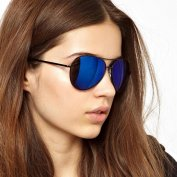 عینک آفتابی ASOS Matte Black Aviator With Blue Flash Lens