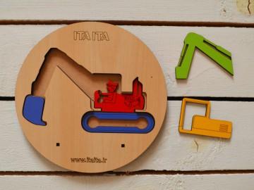 پازل چوبی طبقاتی بیل مکانیکی