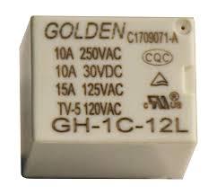 رله میلون گلدن 12 ولت، تک کنتاکت 250 ولت 10 آمپر، 12V 1C SPDT 250VAC-10A Relay