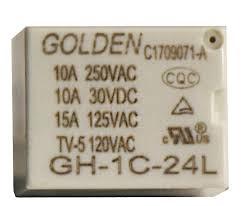 رله میلون گلدن 24 ولت، تک کنتاکت 250 ولت 10 آمپر، 24V 1C SPDT 250VAC-10A Relay