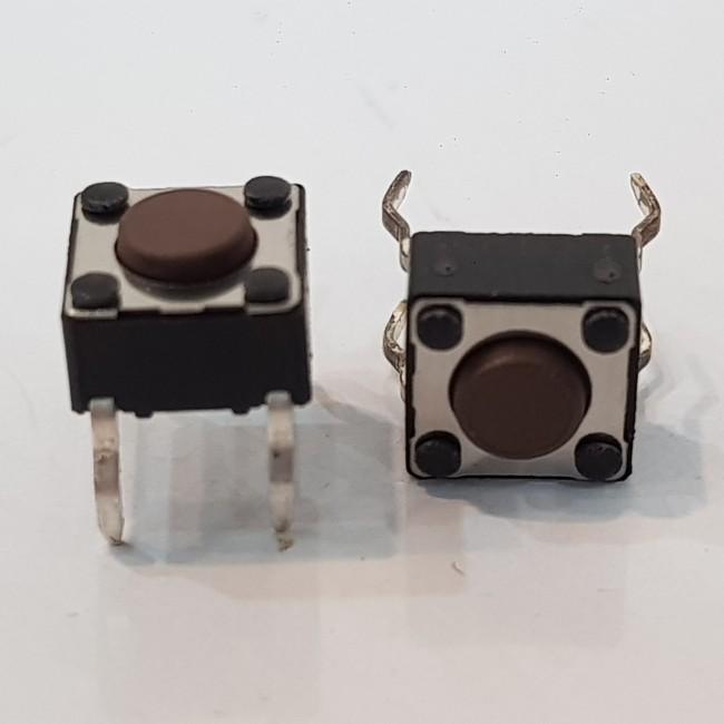 تک سوییچ کوچک 4 پایه، اهرم 1 میلی متری ( بسته 5 عددی)، Tactile Switch 6x6x4.5-4Pin