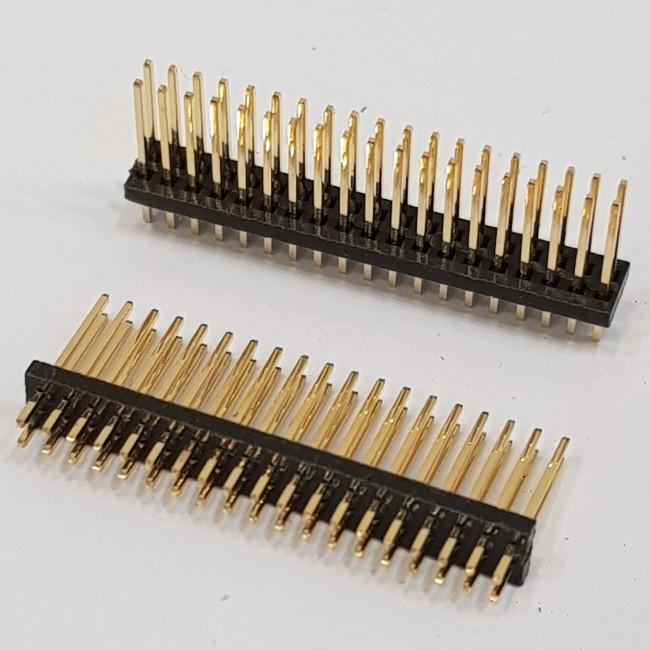پین هدرپایه بلند 2x19 نری صاف 2.54 میلیمتر. Pin header 2x19 male Straight 2.54mm Pitch long