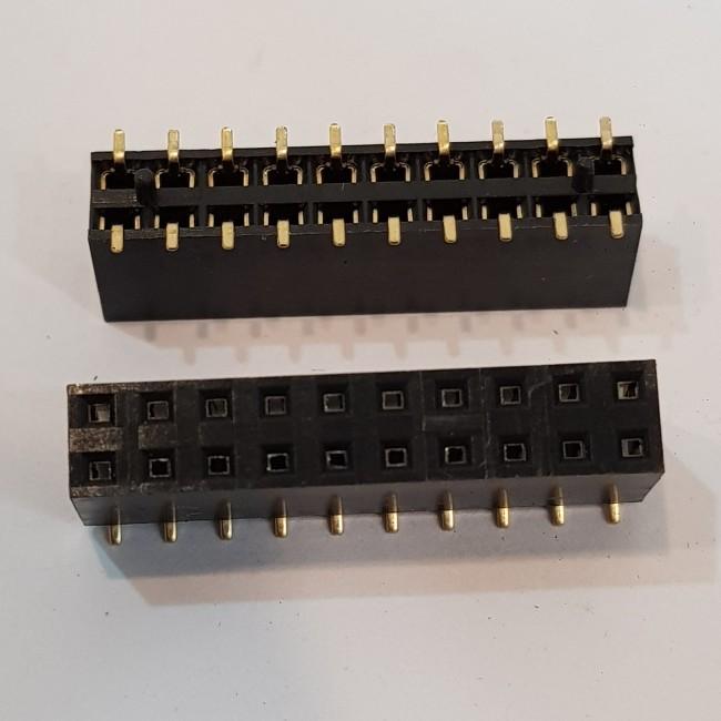 پین هدر SMD 2x10 مادگی صاف 2.54 میلیمتر 20 پایه . Pin header SMD 2x10 Female Straight 2.54mm Pitch 20pin