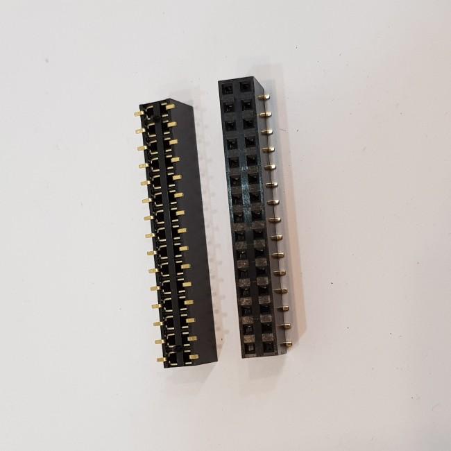 پین هدر SMD 2x15 مادگی 2.54 میلیمتر. Pin header SMD 2x15 Female Straight 2.54mm Pitch