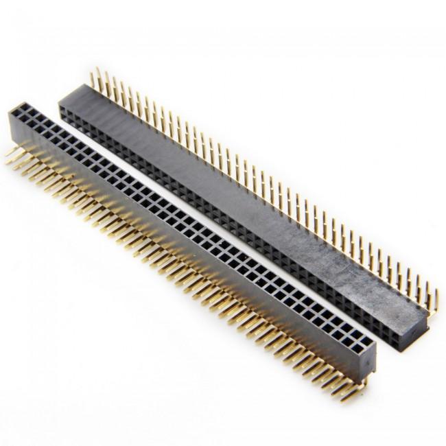 پین هدر 2x40 مادگی رایت انگل 2.54 میلیمتر. Pin header 2x40 Female Right angle 2.54mm Pitch