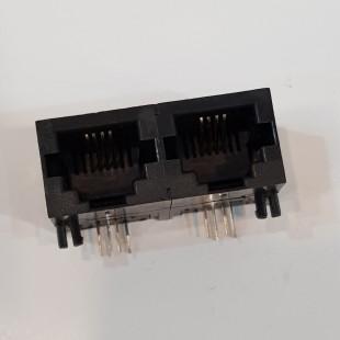 سوکت Rj-11 مادگی رایت انگل روبردی 4 پایه دوتایی، Double Rj-11 Socket Female 6P4C Right angle Board Mount