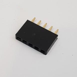 پین هدر 1x5 مادگی صاف 2.54 میلیمتر ( بسته 5 عددی).  (5pcs) Pin header 1x5 Female Straight 2.54mm Pitch