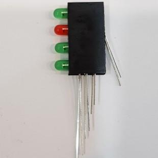 LED قابدار 4 تایی (سبز، قرمز، سبز، سبز), Right Angle 4 x 3mm GRGG LED