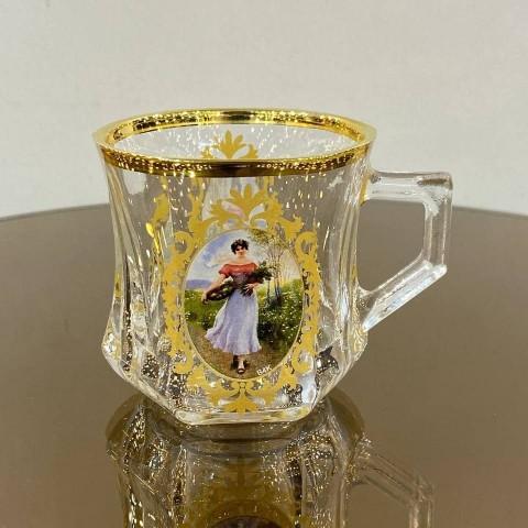 فنجان چایخوری لب طلا طرح دار