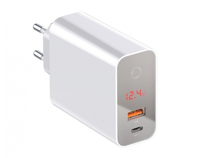آداپتور فست شارژ 45 وات بیسوس Baseus BS-EU907 USB-C/USB-A LED Adapter Baseus BS-EU907 Speed PPS Intelligent Power-off & Digital Display Quick Charger PD3.0+QC3.0