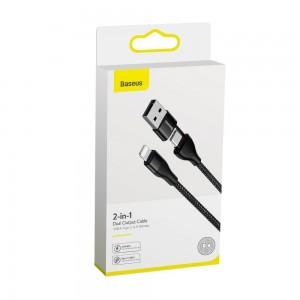 کابل شارژ و انتقال داده دوسر بیسوس Baseus 2in1 Dual Output Cable USB+Type-C to iP 18W Baseus 2in1 Dual Output Cable USB / USB Typ C PD 18W - Lightning 2A 1m CATLYW-G01
