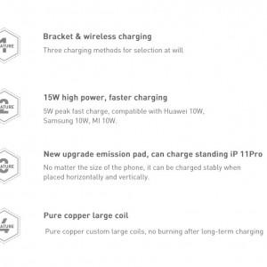 شارژر وایرلس بیسوس Baseus Rib Horizontal and Vertical BS-W502 WXPG-01 15W دارای استند