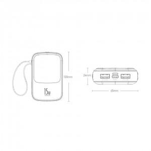 پاوربانک بیسوس با کابل لایتنینگ Baseus Q pow BS-P1001L Digital Display 10000mAh Power Bank