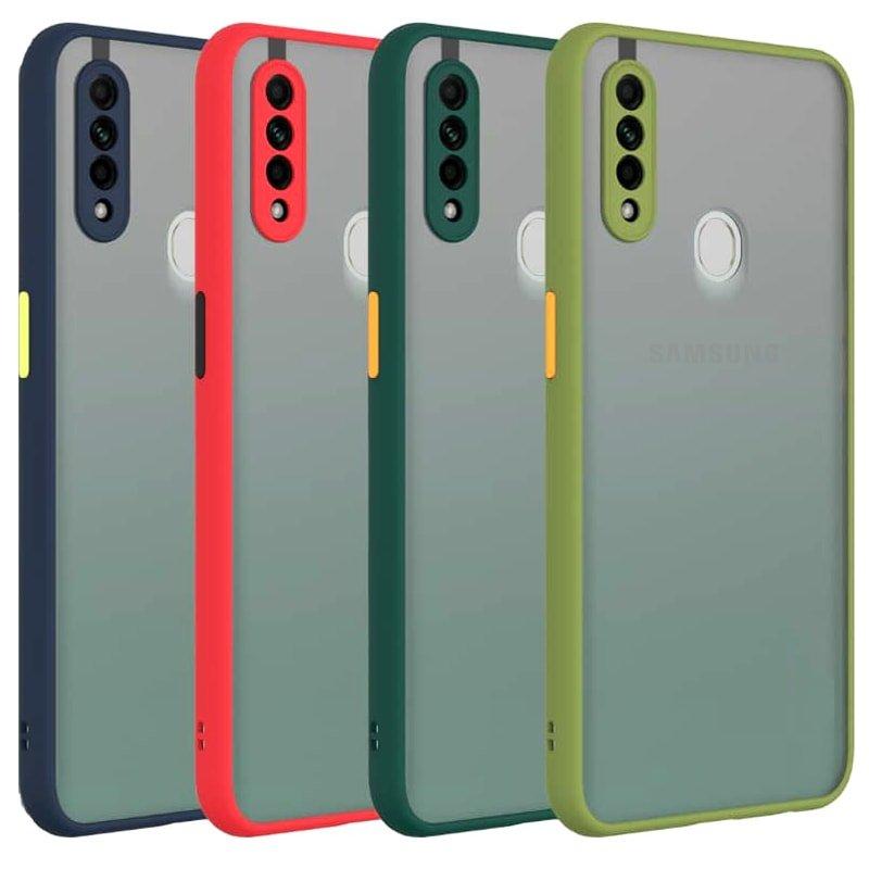 کاور و قاب گوشی مناسب برای Samsung Galaxy A20S هیبریدی دکمه رنگی مدل پشت مات محافظ لنزدار