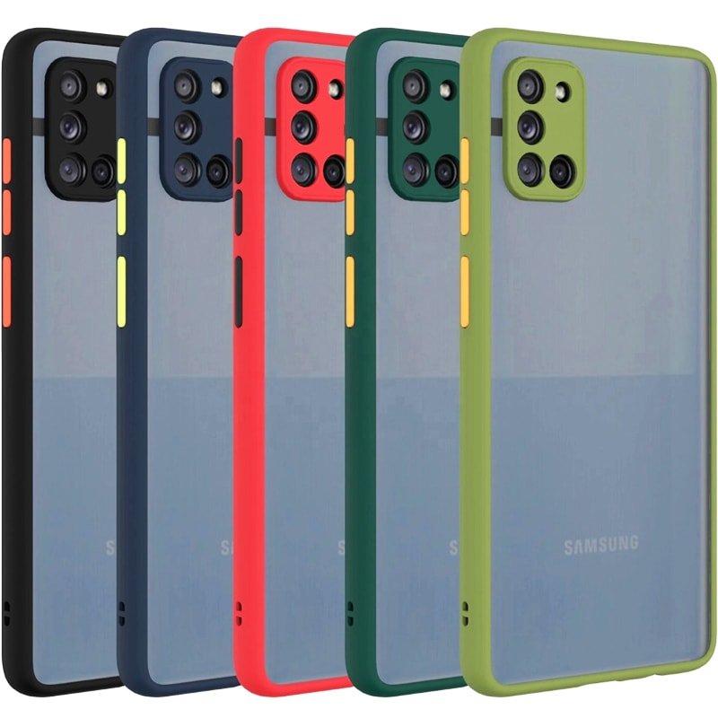 کاور و قاب گوشی مناسب برای Samsung Galaxy A31 هیبریدی دکمه رنگی مدل پشت مات محافظ لنزدار