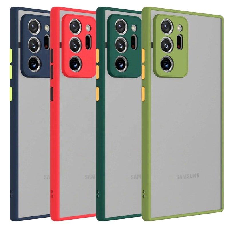 کاور و قاب گوشی مناسب برای Samsung Galaxy Note 20 Ultra هیبریدی دکمه رنگی مدل پشت مات محافظ لنزدار