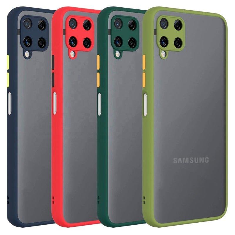 کاور و قاب گوشی مناسب برای Samsung Galaxy A12 هیبریدی دکمه رنگی مدل پشت مات محافظ لنزدار