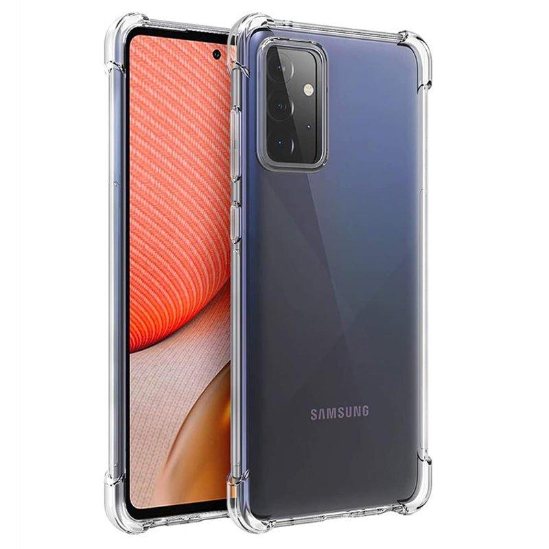 گارد محافظ ایربگ دار برای گوشی Samsung Galaxy A72 مدل دور ژله ای شفاف پشت طلق کریستالی