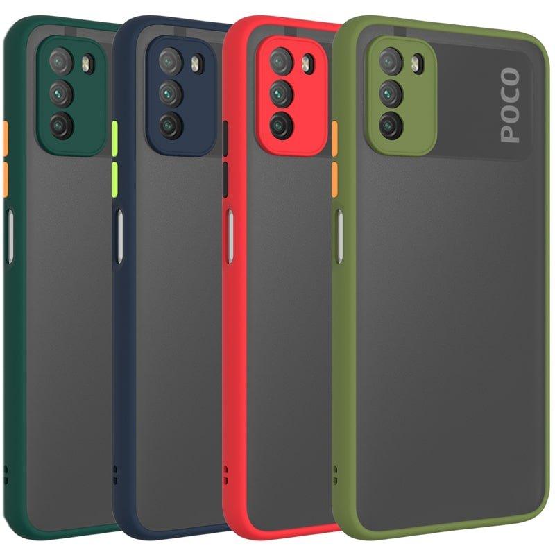 کاور و قاب گوشی مناسب برای XIAOMI POCO M3 هیبریدی دکمه رنگی مدل پشت مات محافظ لنزدار