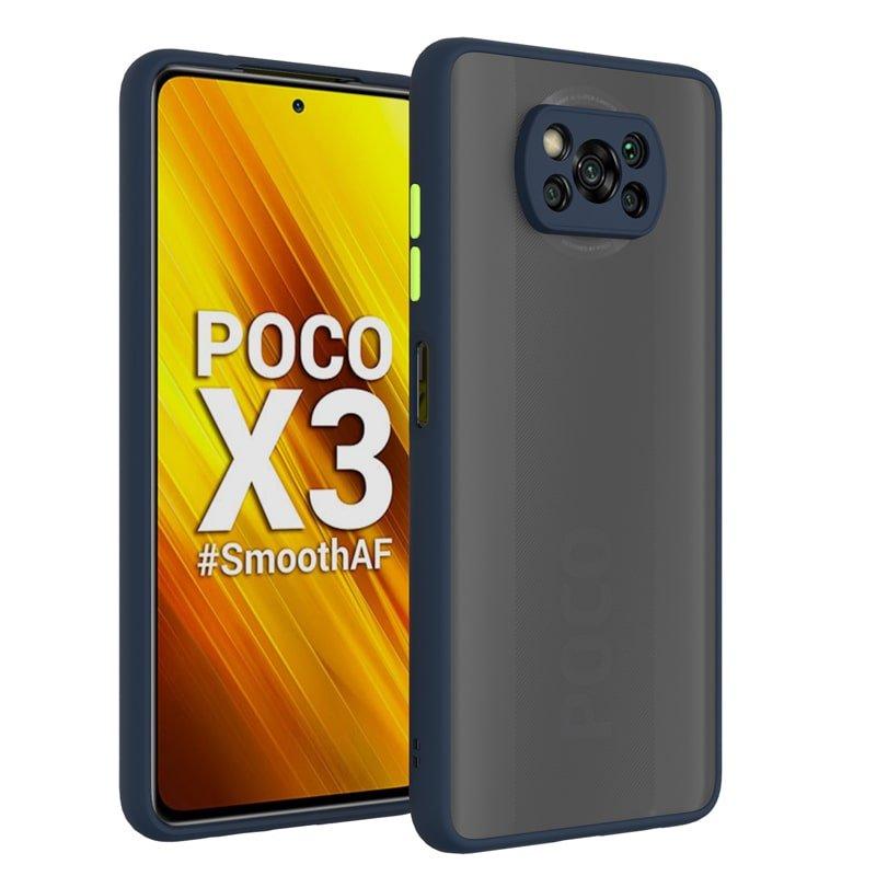 کاور و قاب گوشی مناسب برای XIAOMI POCO X3 NFC هیبریدی دکمه رنگی مدل پشت مات محافظ لنزدار