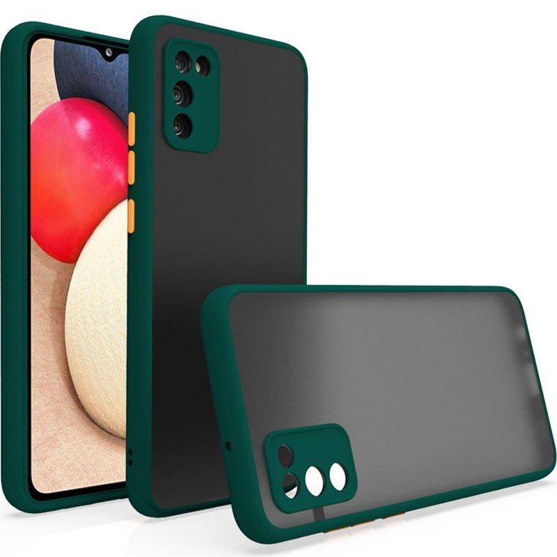 کاور و قاب گوشی مناسب برای Samsung Galaxy A02S هیبریدی دکمه رنگی مدل پشت مات محافظ لنزدار