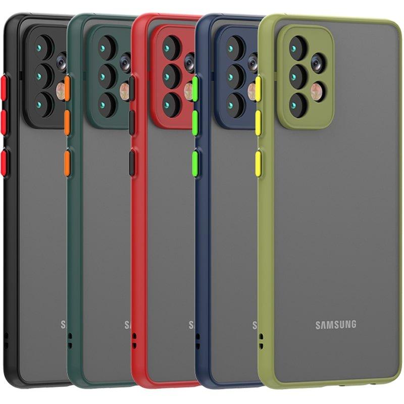 کاور و قاب گوشی مناسب برای Samsung Galaxy A52 5G هیبریدی دکمه رنگی مدل پشت مات محافظ لنزدار