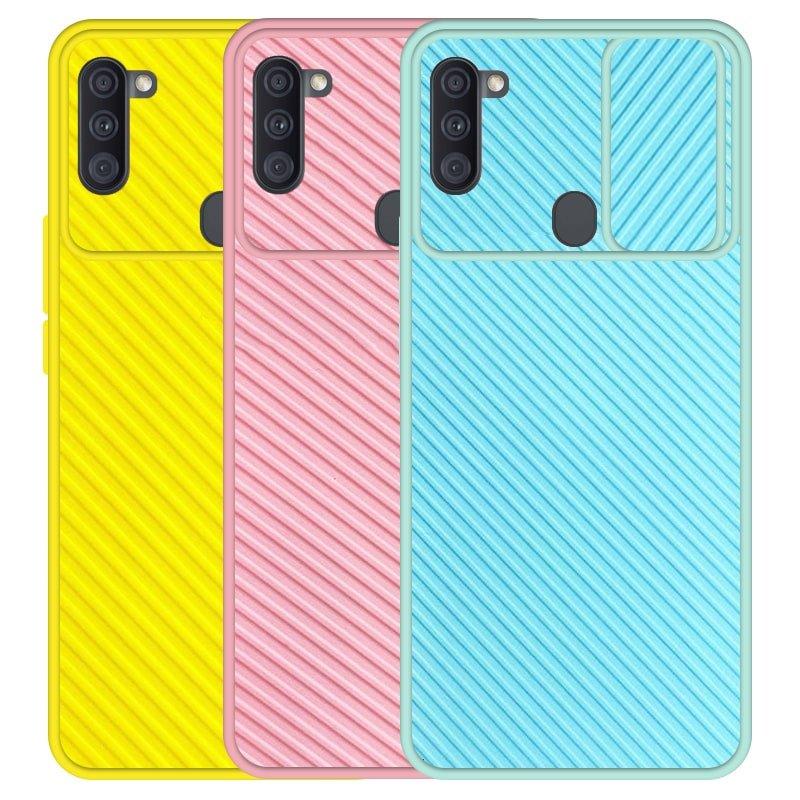 قاب و گارد محافظ مناسب برای گوشی Samsung Galaxy A11 مدل اسلاید کمرا طرح رنگی کشویی