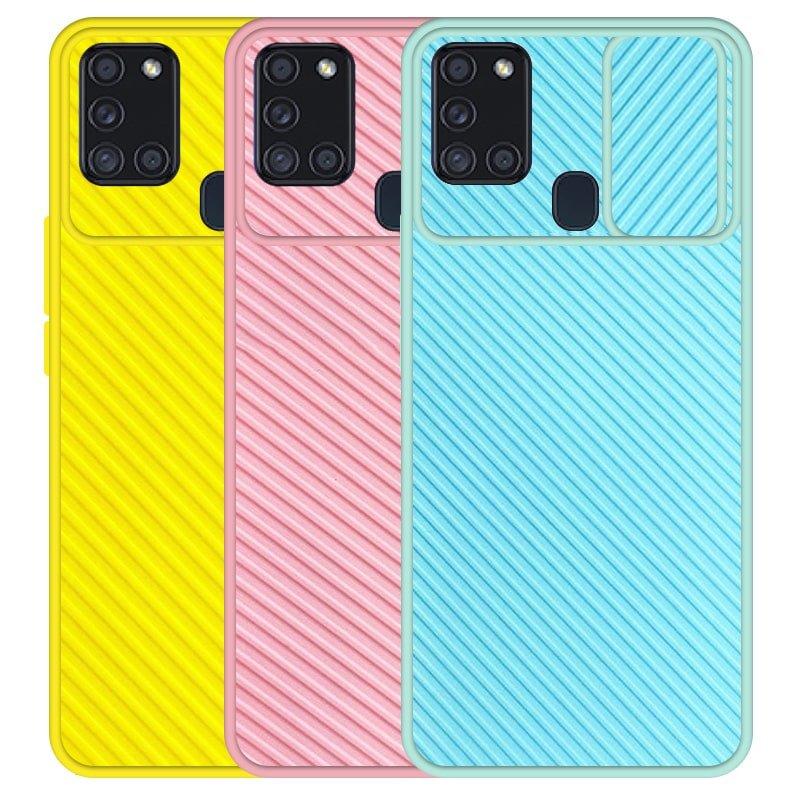 قاب و گارد محافظ مناسب برای گوشی Samsung Galaxy A21S مدل اسلاید کمرا طرح رنگی کشویی