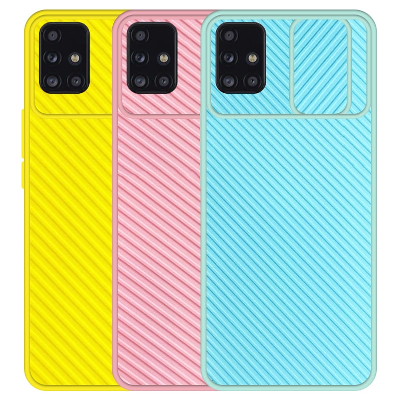 قاب و گارد محافظ مناسب برای گوشی Samsung Galaxy A51 مدل اسلاید کمرا طرح رنگی کشویی