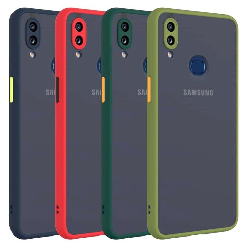 کاور و قاب گوشی مناسب برای Samsung Galaxy A10S هیبریدی دکمه رنگی مدل پشت مات محافظ لنزدار