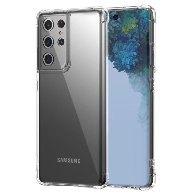 گارد محافظ ایربگ دار برای گوشی Samsung Galaxy S21 Ultra مدل دور ژله ای شفاف پشت طلق کریستالی