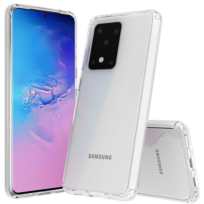 گارد محافظ ایربگ دار برای گوشی Samsung Galaxy S20 Ultra مدل دور ژله ای شفاف پشت طلق کریستالی