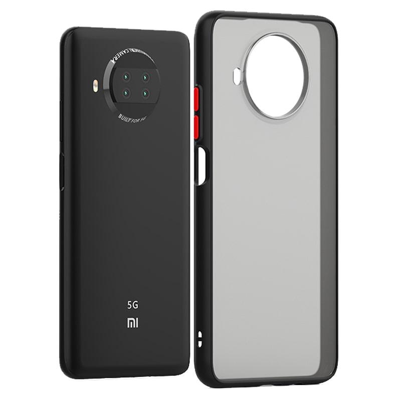 کاور گوشی Xiaomi Redmi Note 9 Pro 5G هیبریدی مدل پشت مات دکمه رنگی